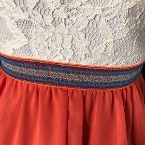 Dresses - Lace and Chiffon Spaghetti Strap Dress